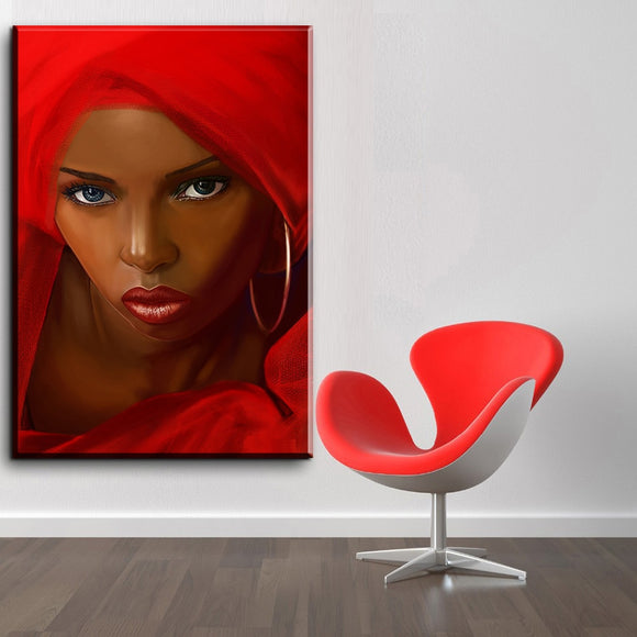 Canvas Art Pictures, Home Decor, Abstract African Women In Red Figure Painting For Living Room Unframed