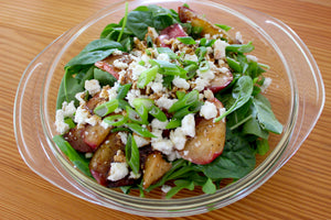 Grilled Peach Summer Salad with Bright, Savory Coffee Vinaigrette