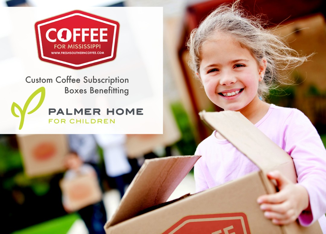 Palmer Home For Children, girl holding box of fresh coffee