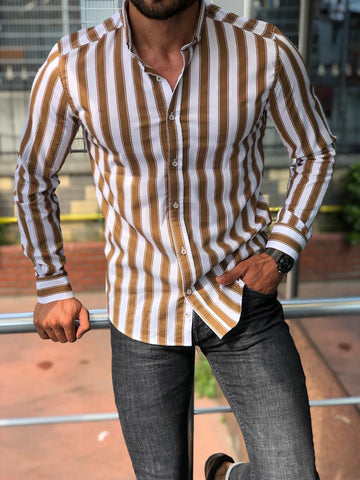 Bellagio Beige Striped Shirt