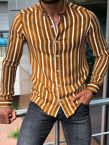 Bellagio Camel Striped Shirt