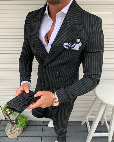 Lazio Black Striped Double Breasted Suit
