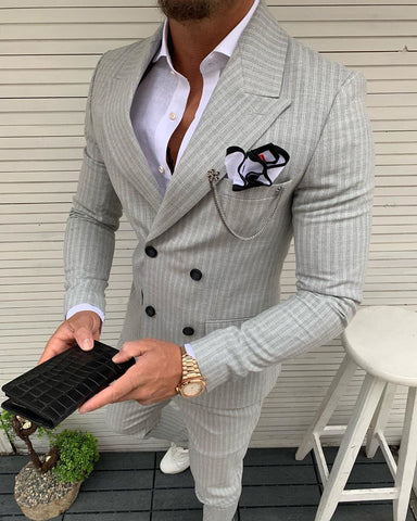 Lazio Gray Striped Double Breasted Suit