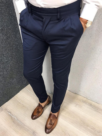 Napoli Navy Blue Slim Fit Pants