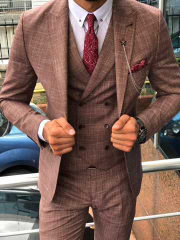 Elio Claret Red Slim Fit Suit