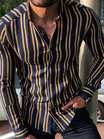 Heritage Dark Blue Yellow Striped Shirt