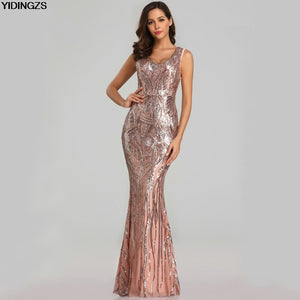 ca707d23cc90 YIDINGZS New Sexy Sequins Evening Dress V-neck Beading Maxi Dress Party Prom  Dress