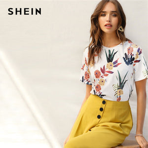 25ff2ae6a0 SHEIN Floral And Plants Print Womens Shirts Summer Short Sleeve Casual  Basic Pullovers Tops
