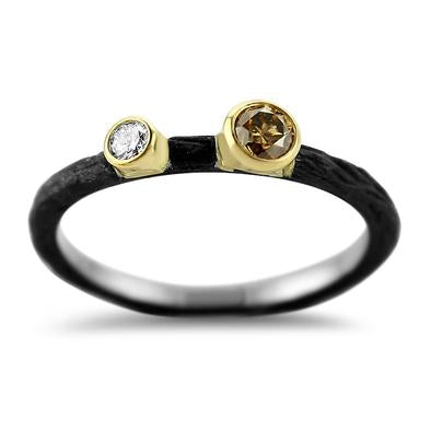 Pebble Stacking Ring + Cognac Diamond+ White Diamond + Cobalt Chrome
