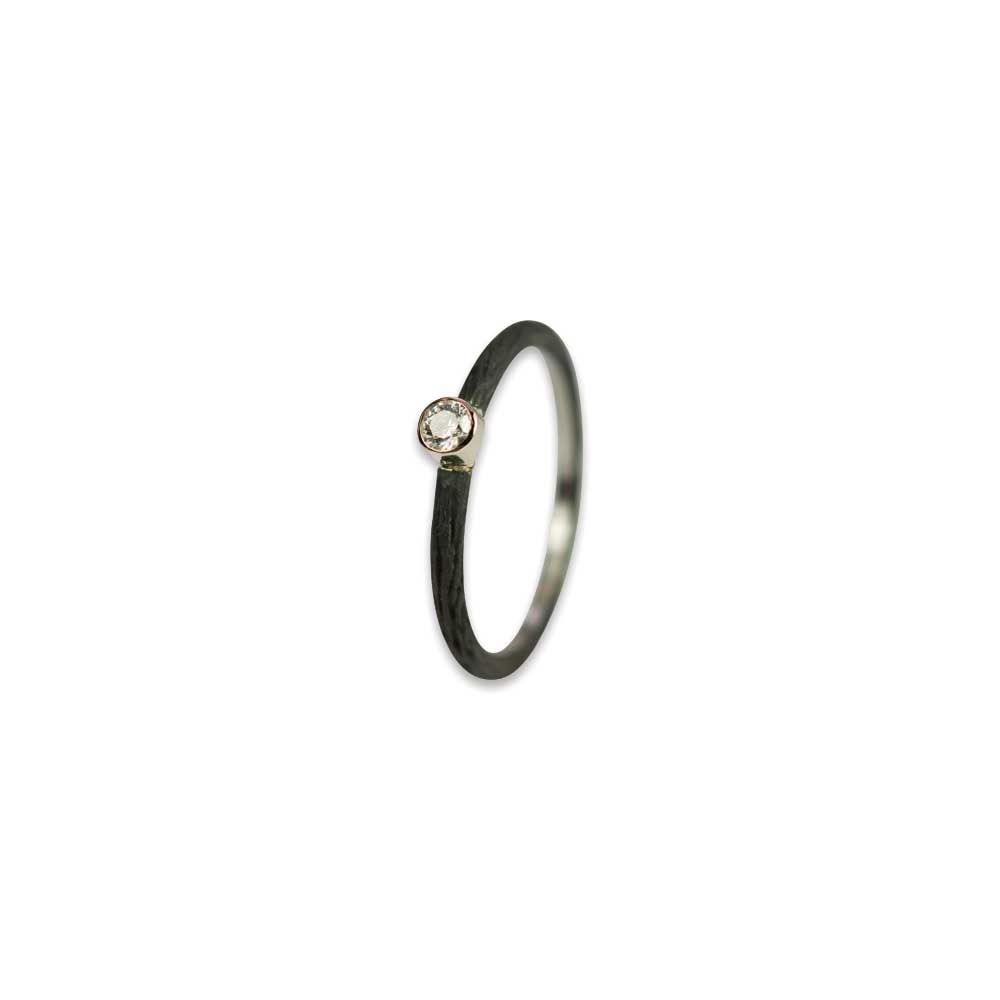 Pebble Stacking Ring + Diamond + Cobalt Chrome