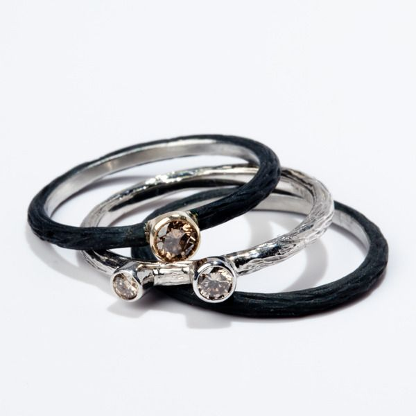 Pebble Stacking Ring + Medium Cognac Diamond + Cobalt Chrome
