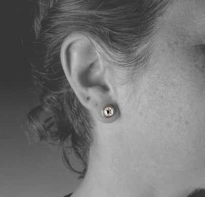 Sterling Silver Erosion Studs with Black Diamonds