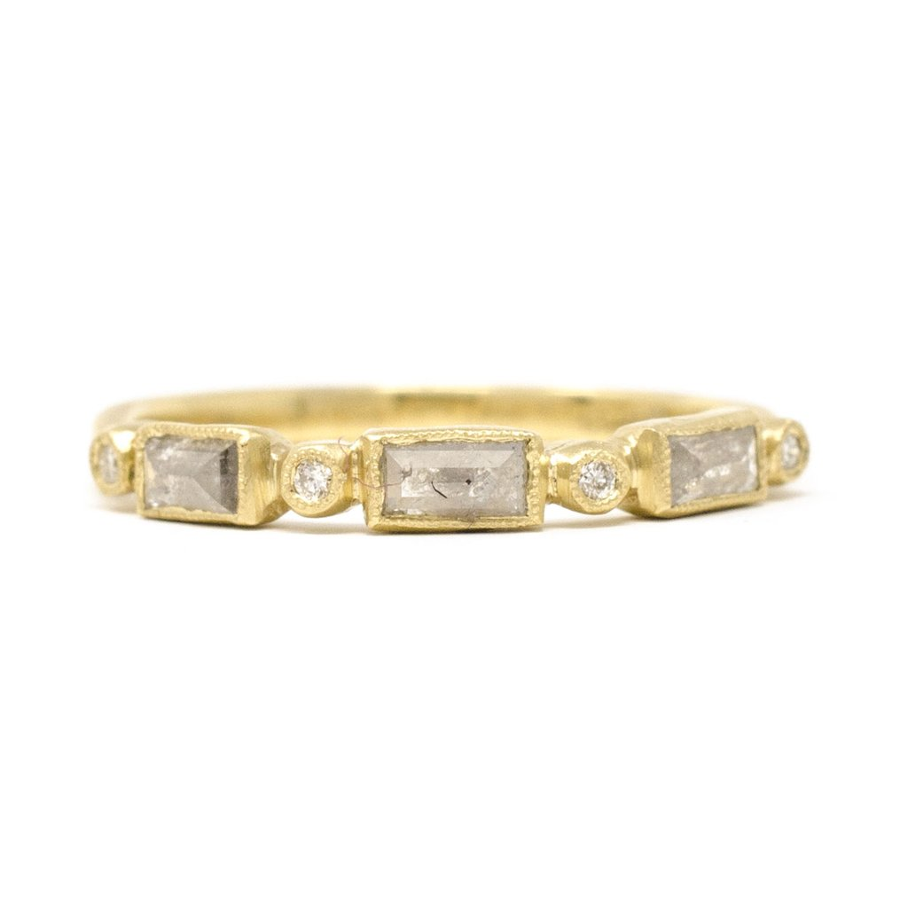 Blockette Baguette Opaque Rough Cut Diamond Ring