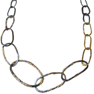 Organic Black + Gold Chain Link Necklace