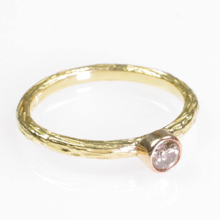 Pebble Stacking Ring + Diamond + 18k Yellow Gold