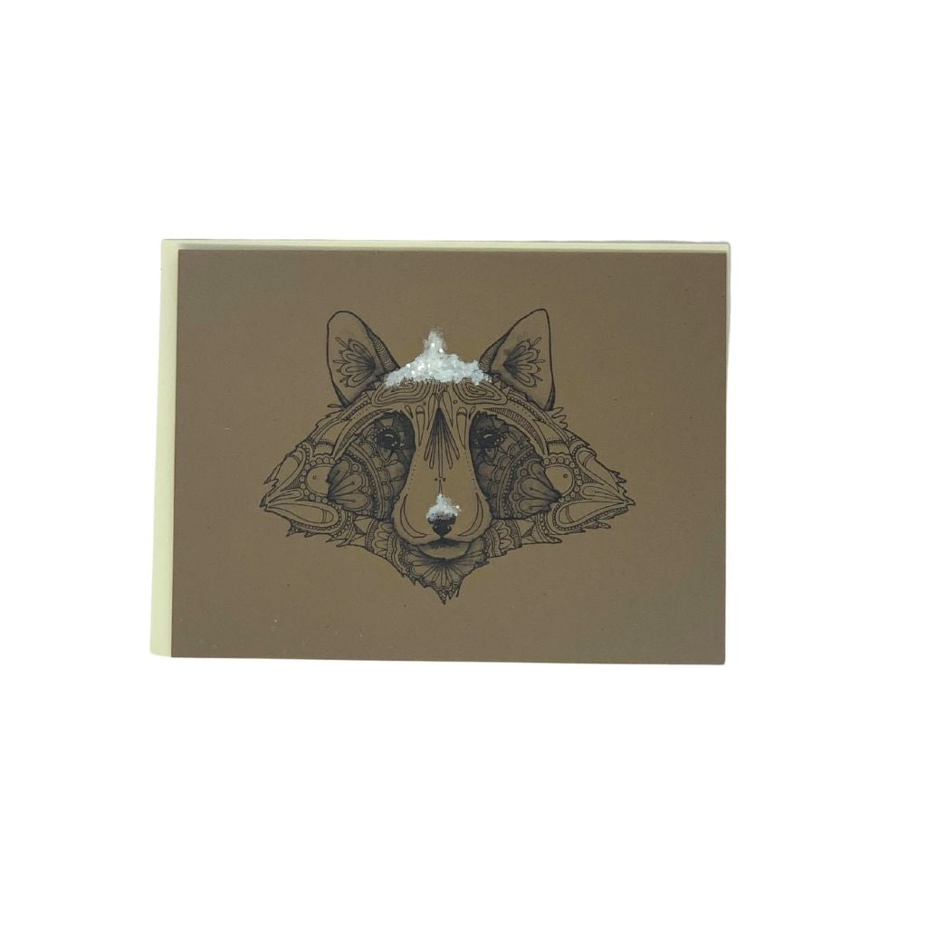 Snowy Raccoon Winter Card pack of 6