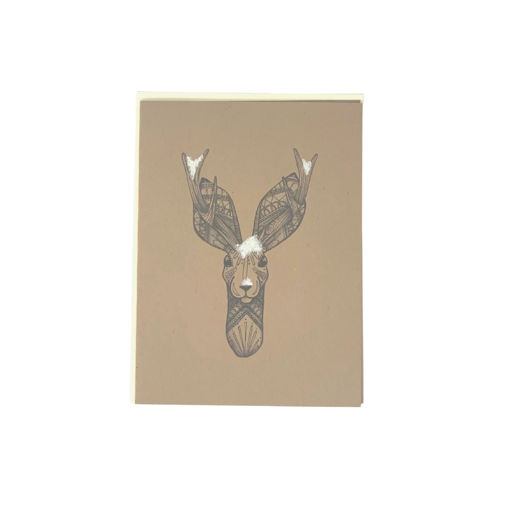 Snowy Deer Card pack of 6