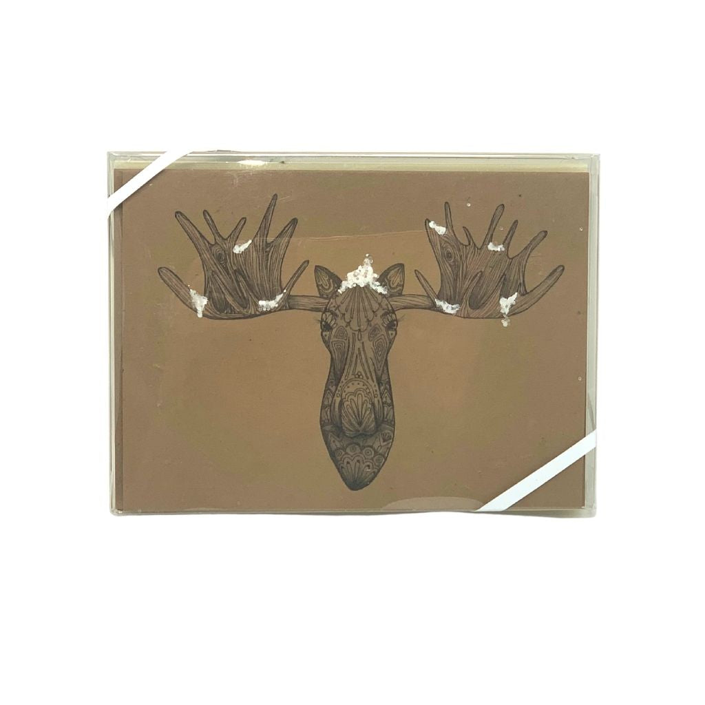Snowy Moose Winter Card pack of 6