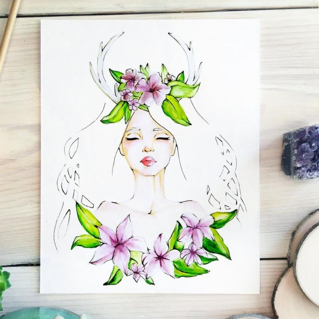 Flower Goddess Watercolor Card