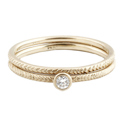 Feather Solitaire 18k Gold