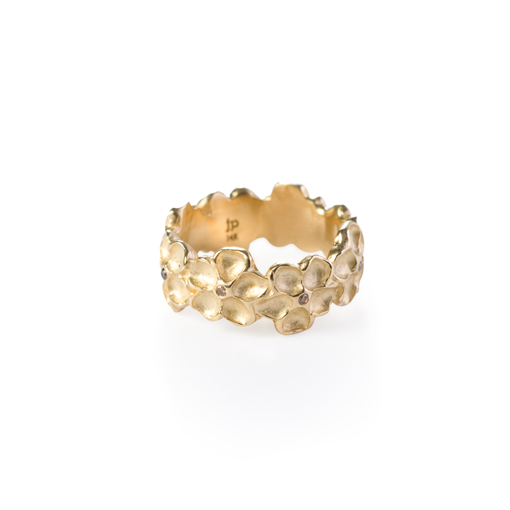 Impatiens Wide Band Ring + 18k Gold + Cognac Diamonds