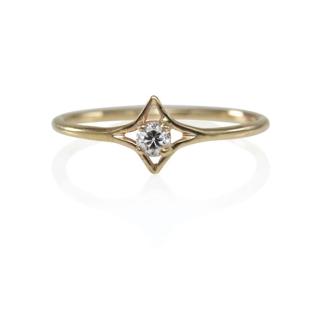 Mine Cut Diamond Star Ring