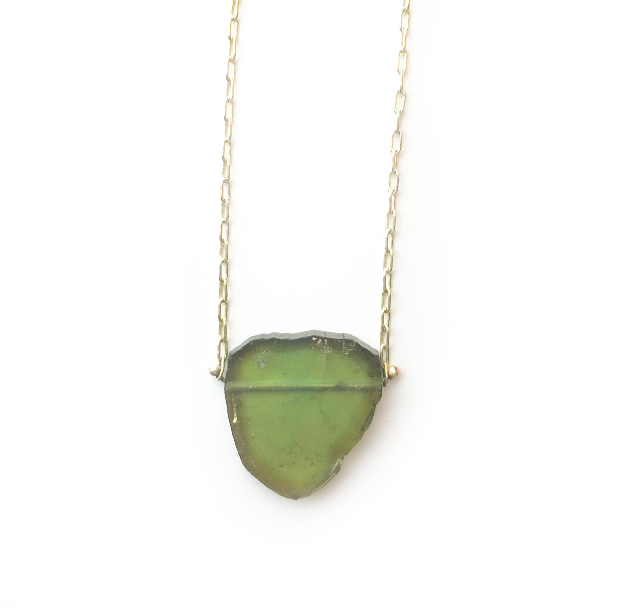 Green Tourmaline Slice Pinned Necklace