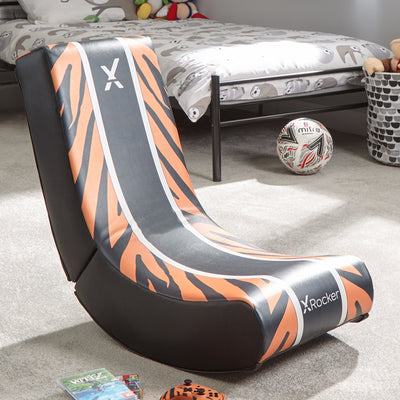 X Rocker Video Rocker Animal - Tiger Edition Foldable Gaming Floor Chair
