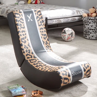 X Rocker Video Rocker Animal - Leopard Edition Foldable Gaming Floor Chair