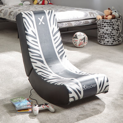 X Rocker Video Rocker Animal - Zebra Edition Foldable Gaming Floor Chair