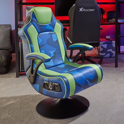X Rocker Geo Camo 2.1 Stereo Audio Gaming Chair with Vibration - Blue and Green