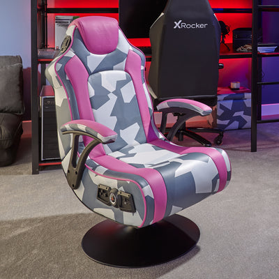 X Rocker Geo Camo 2.1 Stereo Audio Gaming Chair with Vibration - Grey and Pink