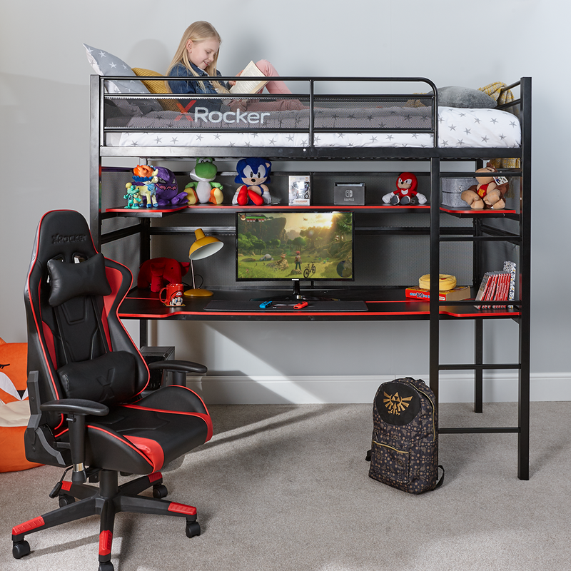 Battlebunk X Rocker Gaming Metal Bunk Bed With Desk Black X Rocker Uk