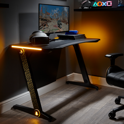 PlayStation® (Officially Licensed) Borealis Gold X Rocker Gaming Desk (0515901)