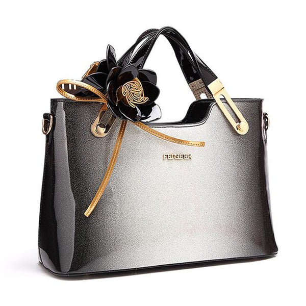 4a95cd1675 High Quality Women Patent Leather Handbags With Flowers Tote – Bihuo Store