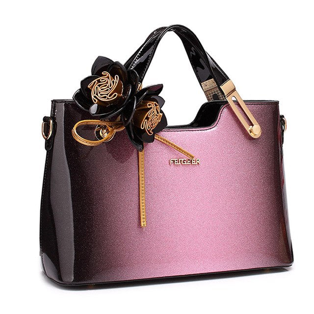 1f7841e73f High Quality Women Patent Leather Handbags Luxury Ladies Fashion Shoulder Bag  With Flowers Tote