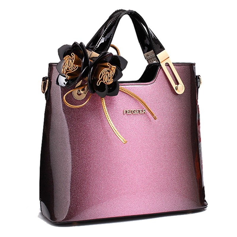 77ea7d2cabea High Quality Women Patent Leather Handbags With Flowers Tote – Bihuo ...