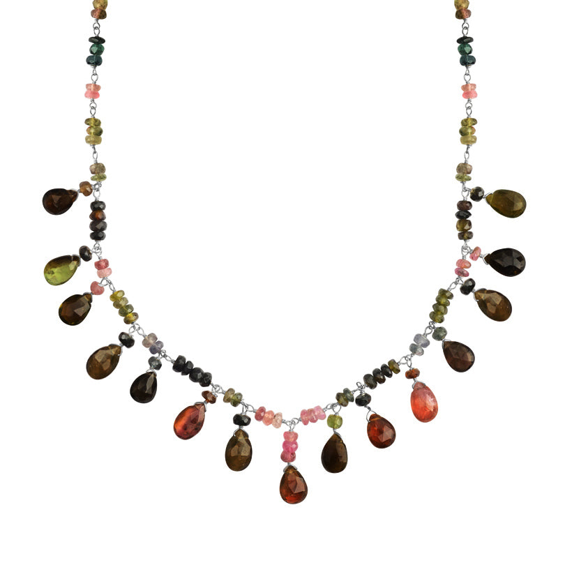 Beautiful Tourmaline Tiny Faceted Drops Sterling Silver Necklace