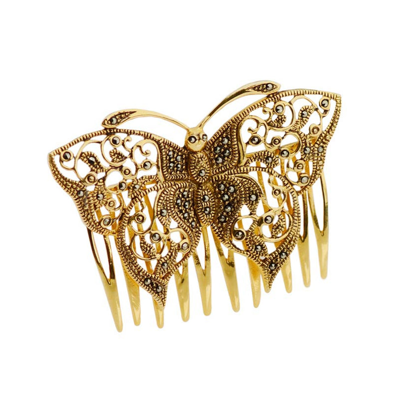Elegant 14kt Marcasite Gold Plated Butterfly Hair Comb