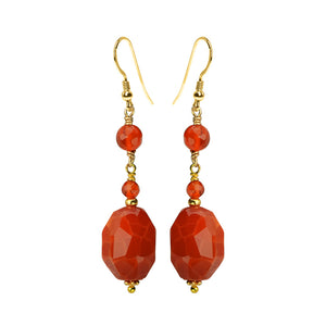Dazzling Fire Agate And Carnelian Gold Filled Earrings