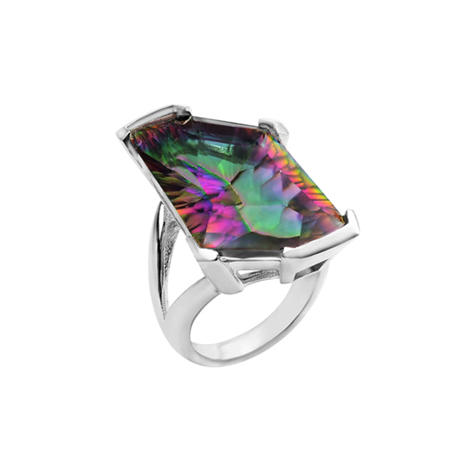 Super Geometric Mystic Quartz Sterling Silver Ring