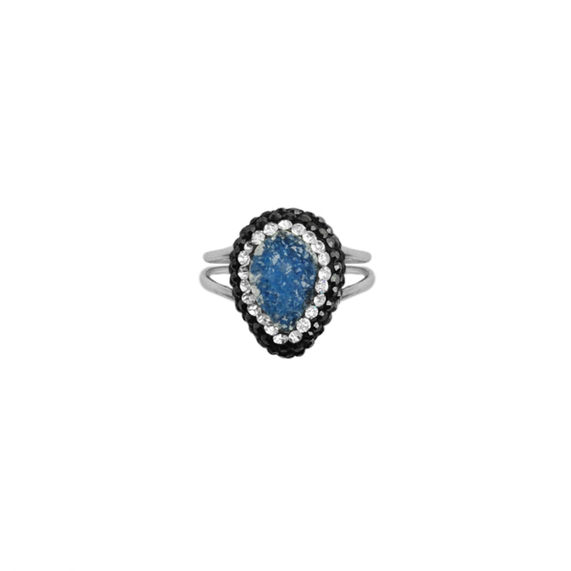 Tiny Drusy and Hematite Crystal Sterling Silver Adjustable Ring