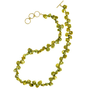 Lovely Natures Green Fresh Water Pearl Gold Filled Necklace