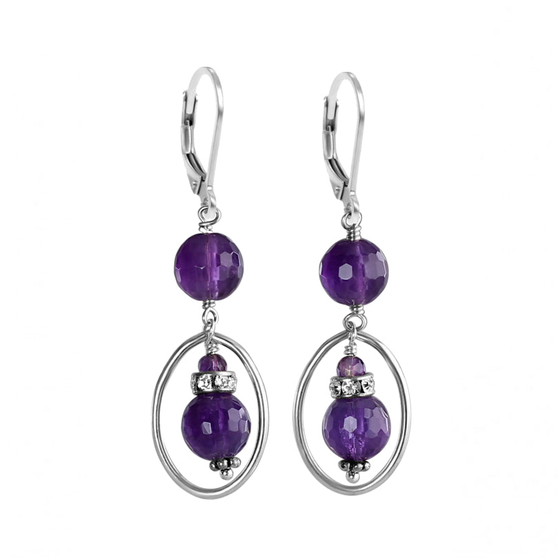 Sparkling Amethyst and Crystal Sterling Silver Earrings