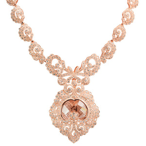 14Kt Rose Gold Plated Victorian Majesty Crystal Statement Necklace
