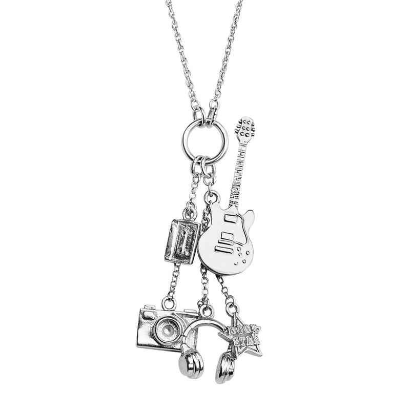Rock Star Sterling Silver Charm Necklace