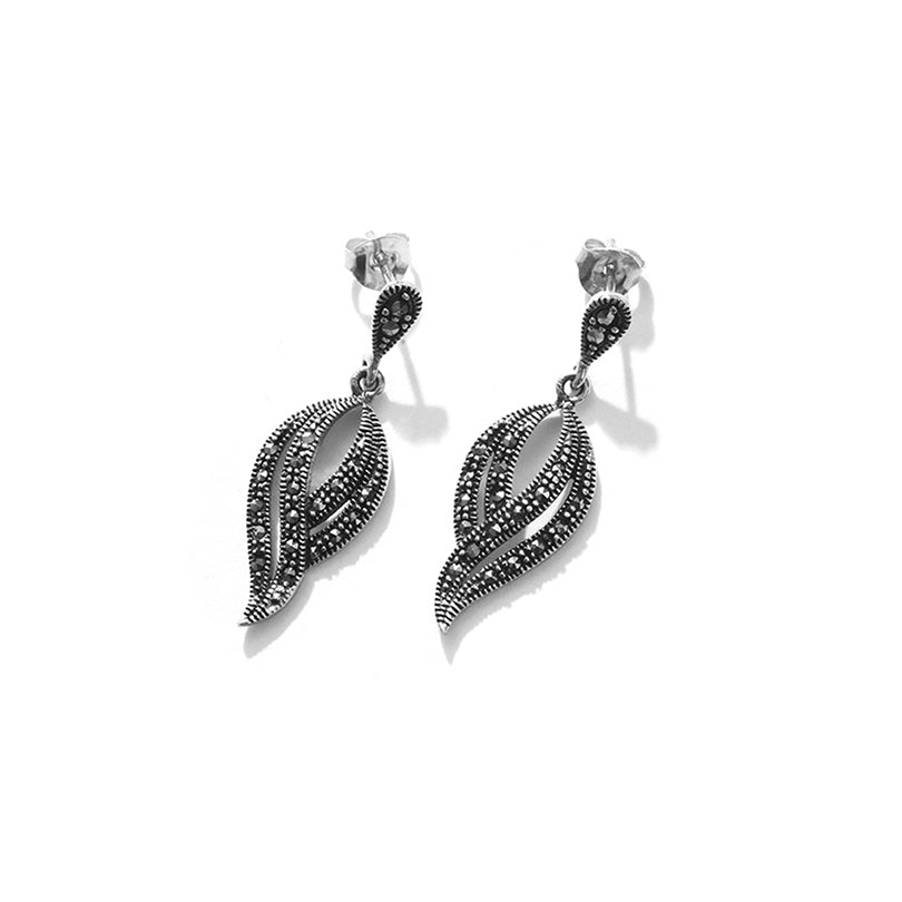 Touch of Elegance Marcasite Sterling Silver Earrings