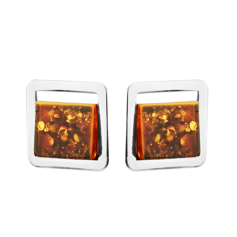 Polish Designer Contemporary Style Cognac Baltic Amber Sterling Silver Statement Earrings