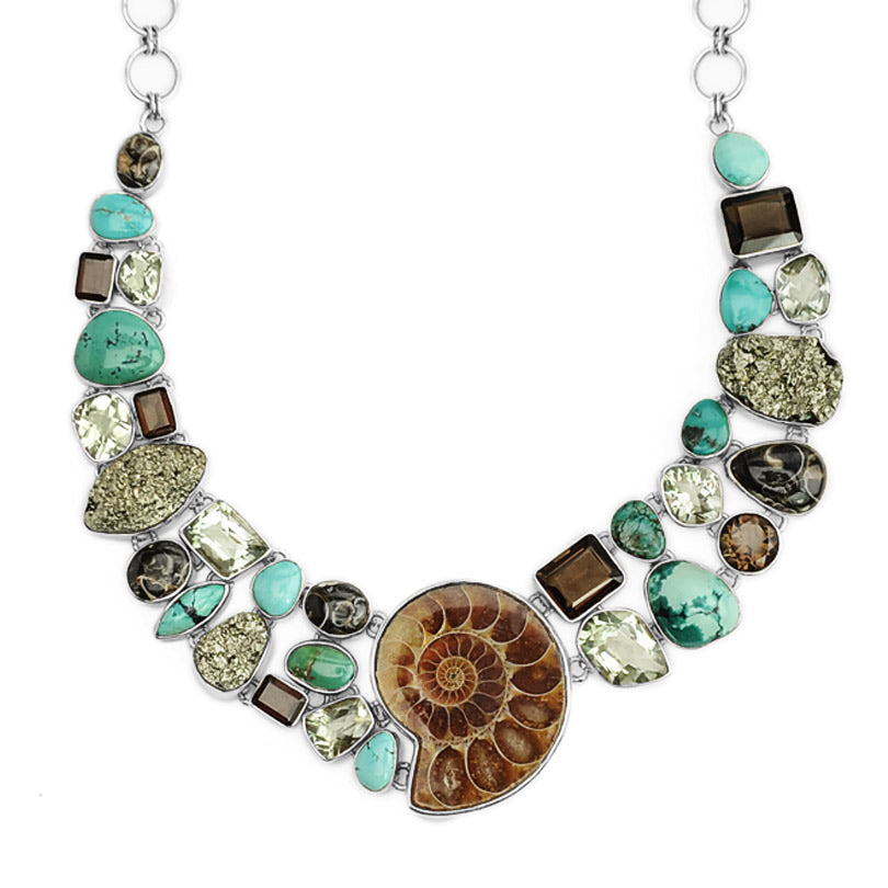 Stunning Ammonite and Mixed Stones Sterling Silver Statement Necklace