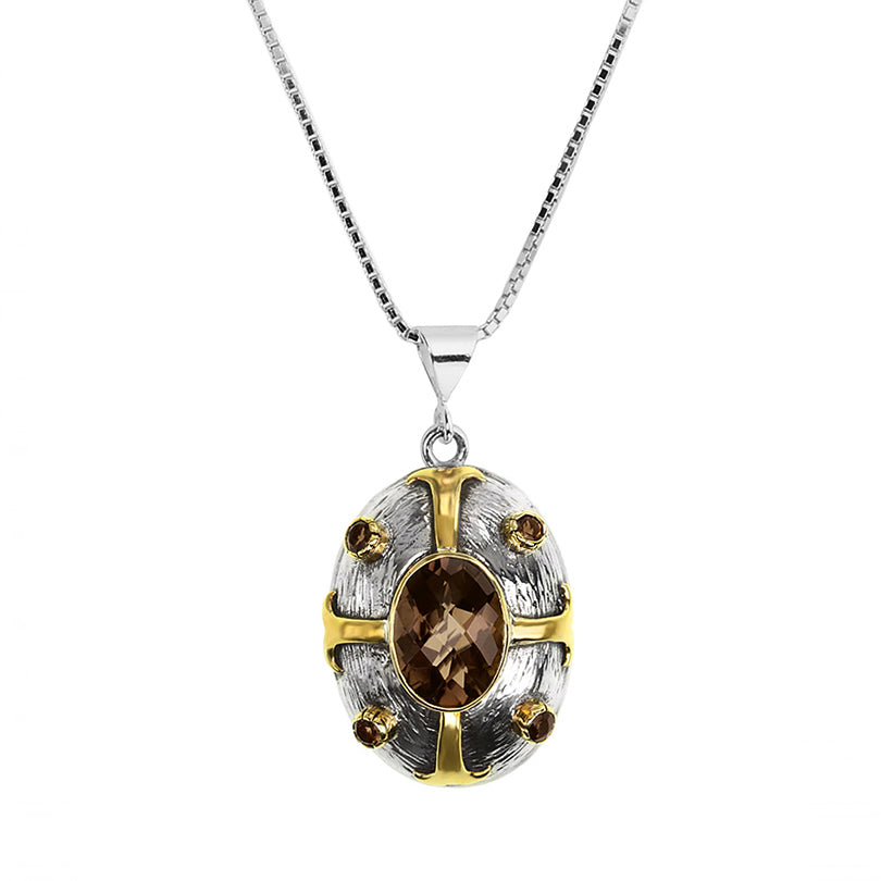 Smoky Quartz Sterling Silver Necklace with Byzantine Maltese Cross Design